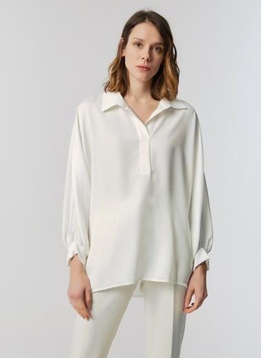Monamoda Bol Kesim Yarasa Bluz Beyaz